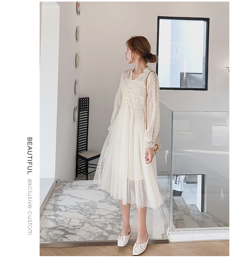 Lace Floral V-Neck Long Sleeve Polka Dot Dress 2