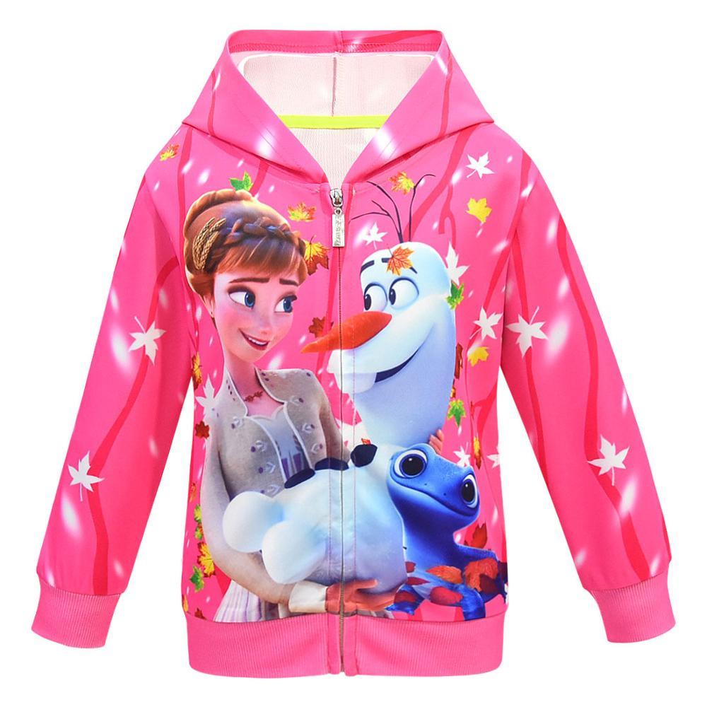 Girls Hoodies Cartoon Lisa Anna Princess Printed Autumn Spring Toddler Hoodie Zipper Cardigan Sweatshirt Girls Fashion Jacket 2