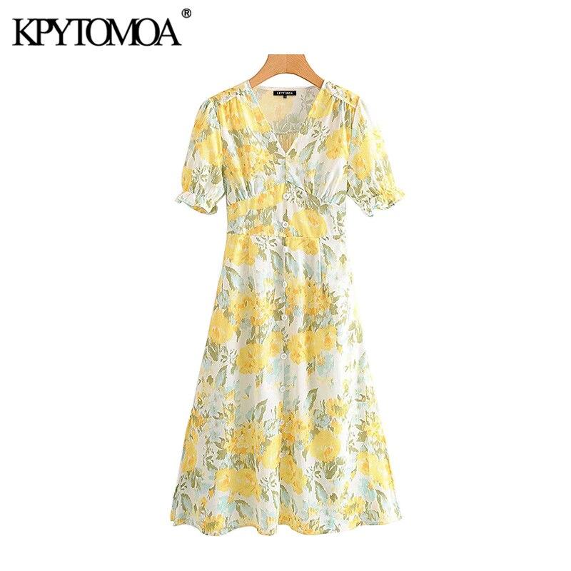 Vintage Chic Floral Print Bow Tie Sashes Midi Dress Women 2020 Fashion V Neck Short Sleeve Side Zipper Slit Beach Dresses Mujer