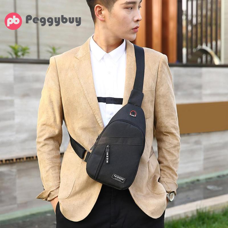 Male Solid Color Casual Crossbody Chest Bags Oxford Men Leisure Zipper Shoulder Messenger Sport Bags