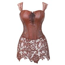 Women Steampunk Faux Leather Corset Dress Gothic Burlesque Zipper Floral Lace Corset Straps Slim Waist Bustier Sexy Lingerie Top