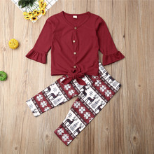 UK Toddler Kids Baby Girls Christmas Clothes T-shirt Top Flare Sleeve Deer Patterned Pants Outfits Tracksuit
