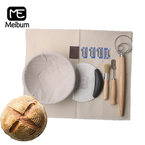 Meibum Bread Fermentation Rattan Basket Round Brotform Banneton Dough Proofing Baskets Linen Liner Scraper Knife Baking Tools