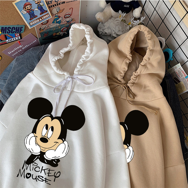 Disney Women Hoodies Minnie Mickey Mouse Hoodies Cartoon Tops Long Sleeve Pockets Sweatshirts Fashion Hooded Women 2