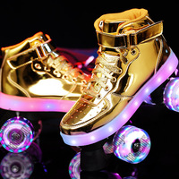2020 New Flash Skates Adult Double Row Pulley Shoes Men Women 4 Wheel PU Children Adult Luminous Roller Skates