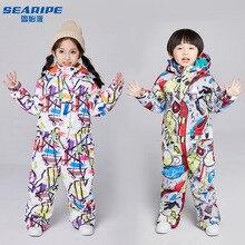 Зимний-30 температурный детский лыжный костюм, Детский водонепроницаемый теплый зимний комплект для мальчиков и девочек, сноуборд, детский спортивный костюм для сноуборда