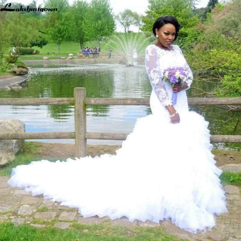 Africano sereia vestidos de casamento na moda rendas babados sheer manga longa tiers plus size cabido vestidos de noiva trem vestido de noiva