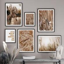 Природные пейзажи пшеничный Рид лист птица художественная стена