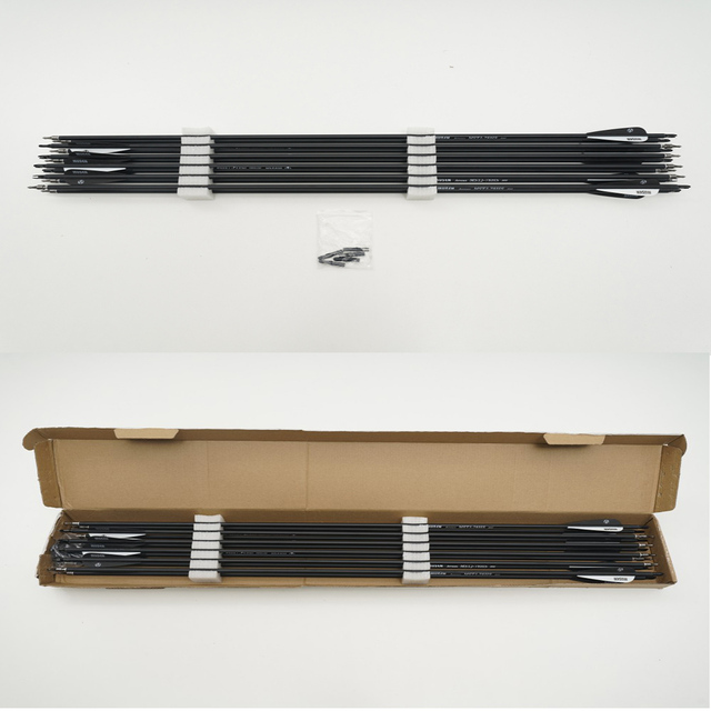 6/12/24pcs/lot 28/30/32 inches Spine 500 Carbon Arrow with Black and White Color for Hunting 4
