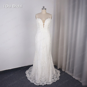 Image 3 - Detachable Train Sheath Wedding Dress High Quality Lace Low Back Deep V Neckline