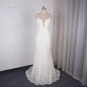 Image 3 - להסרה רכבת נדן חתונת שמלה באיכות גבוהה תחרה נמוכה חזרה עמוק V מחשוף