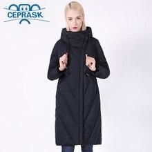 معطف شتاء جديد لعام 2020 للنساء مقاس كبير ياقة طويلة مضادة للرياح سترة نسائية أنيقة بغطاء للرأس سترة نسائية سميكة CEPRASK