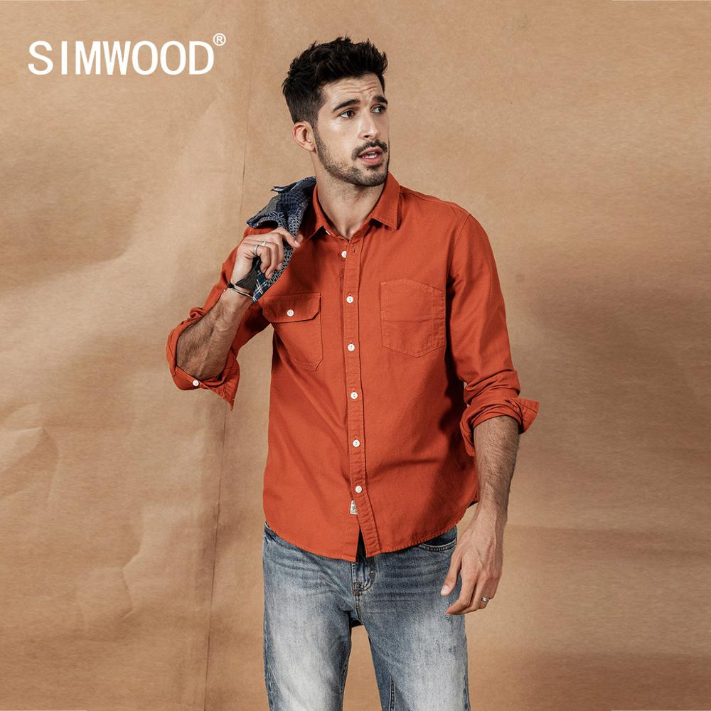 Image 3 - SIMWOOD 2020 spring New Cargo Pocket Shirt Men 100% Cotton Causal  Long Sleeve Shirts Plus Size High Quality Clothing 190376Casual  Shirts