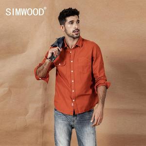 Image 3 - SIMWOOD 2020 spring New Cargo Pocket Shirt Men 100% Cotton Causal Long Sleeve Shirts Plus Size High Quality Clothing 190376