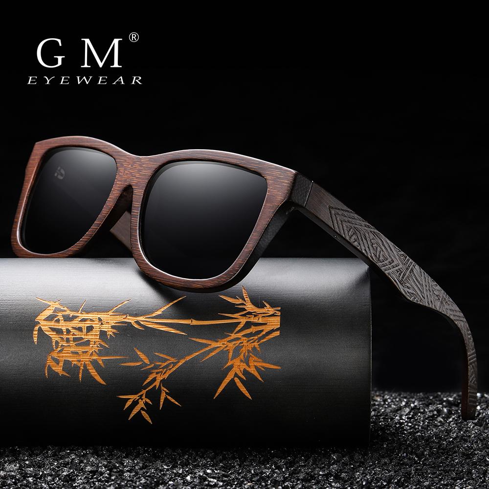 GM Natural Bamboo Wooden Sunglasses Handmade Polarized Mirror Coating Lenses Eyewear With Gift Box