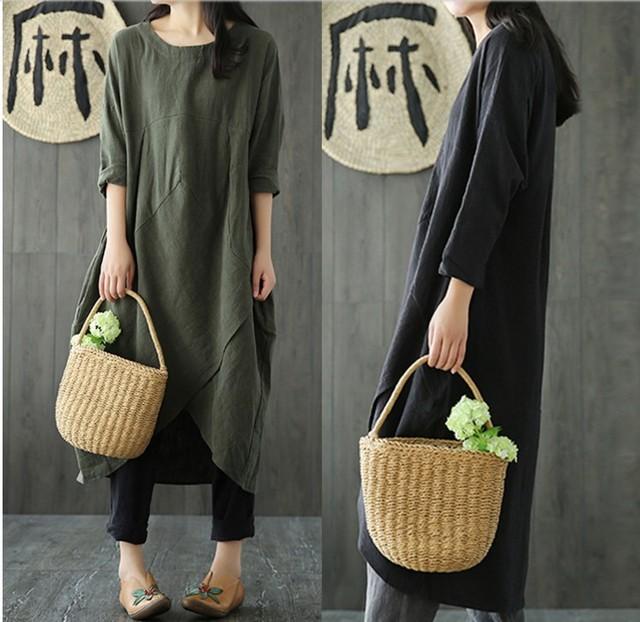Uego Linen Cotton Dress Plus Size M-5XL Loose Dress Solid Color Long Sleeve Autumn Dress Vintage Women Dress Femeal Spring Dress 6