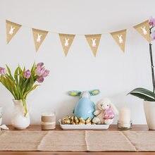 1 conjunto de decoração de páscoa juta serapilheira coelho bandeira bonito bunting hessian guirlanda para festa de páscoa feliz decoração do festival