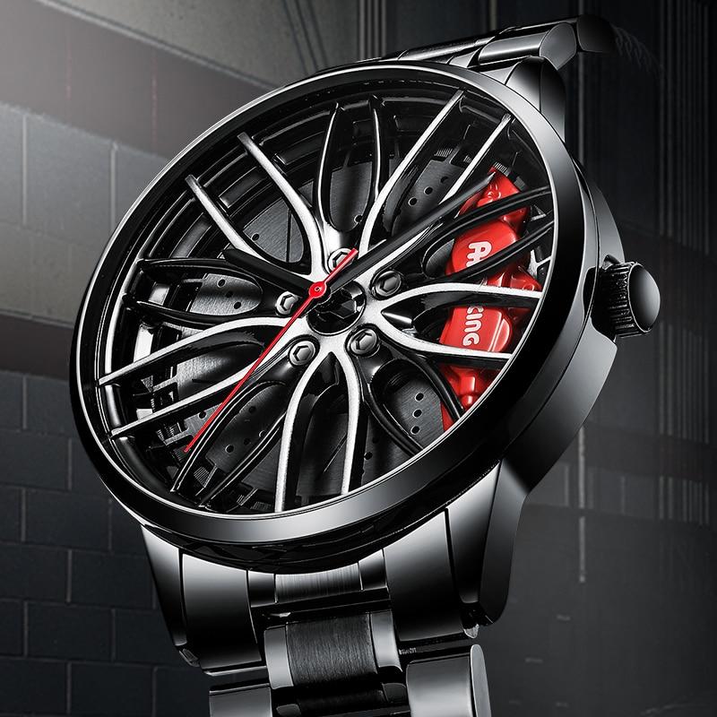NIBOSI Sports Car Wheel Rim Hub Watches Men Custom Design Sport Car Rim Hub Men Watch Stainless Steel Waterproof Creative Watch