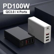 100W Sạc USB PD Loại C Sạc Nhanh Cho iPhone 11 Máy Tính Bảng Tường QC 3.0 Bộ Sạc Hoa Phích Cắm Châu Âu bộ Chuyển Đổi