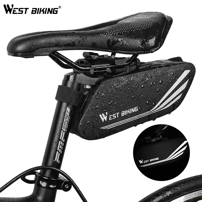 WEST BIKING Bike Bag Cycling Rear Seat Tail Bag Waterproof Seatpost Pannie Bag Bike Accessories Reflective Bicycle Saddle Bags