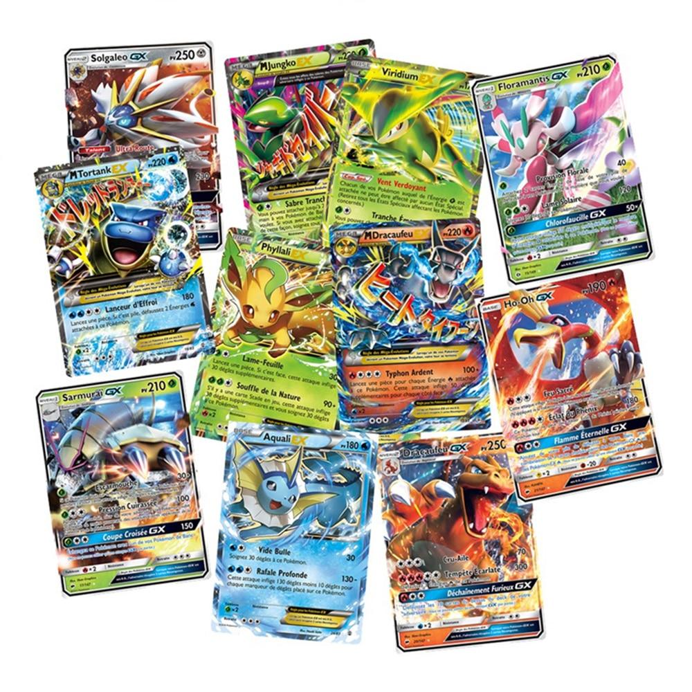 100 Uds. Tarjeta de Pokemon GX versión francesa TAKARA TOMY juego de cartas batalla Carte Trading niños juguete