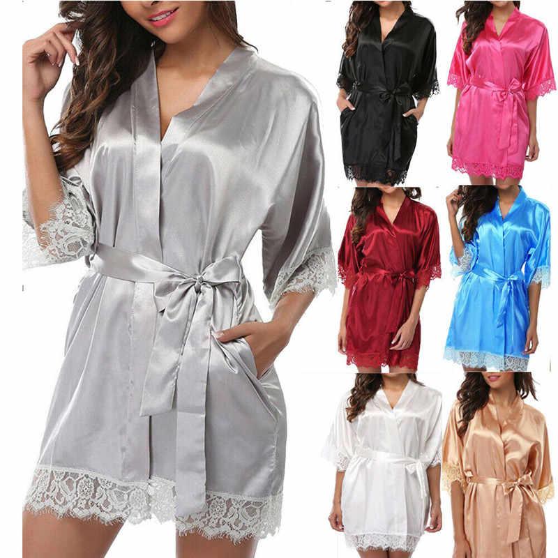 Satyna jedwabna koronkowa szlafrok kimono kobiety seksowna bielizna nocna dla nowożeńców koszula nocna suknia druhna szlafrok koszula nocna bielizna damska