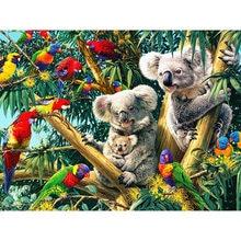 Pintura diamante quadrado completo koala animal casa decoração bordado imagem artesanato mosaico arte kit