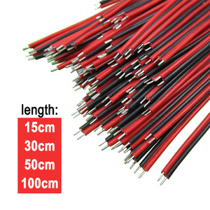 15/30/50/100cm 2pin wire cable, Red black wire, Awg22 thinned copper wire, Electronic cablb, extend wire for CCTV, Sound, power