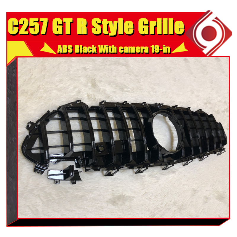 For MercedesMB C257 Front grille Grill GT R Style ABS Black without sign CLS300 CLS350 CLS450 CLS500 CLS53 look grills 2019 in in Racing Grills from Automobiles Motorcycles
