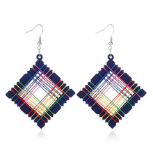 European and American popular fashion style restoring ancient ways geometric winding manual wood earrings