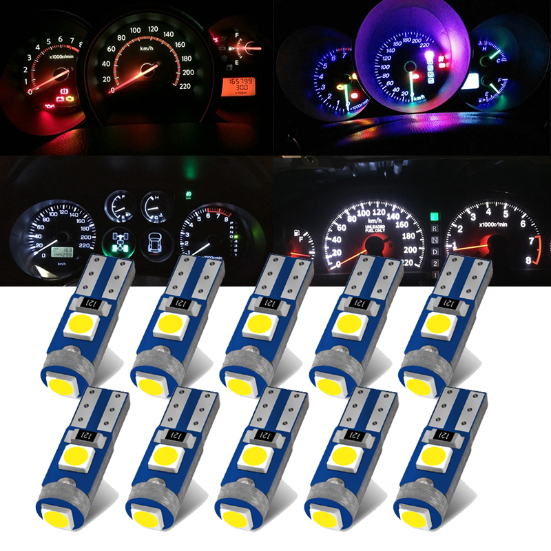 10Pcs Super Bright 3030 T5 LED Lights W1.2W W3W LED Car Interior Light Auto Side Wedge Dashboard Gauge Instrument Lamp Bulbs