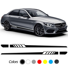 Car Stickers Side Stripe Skirt Decals for Mercedes Benz C Class W205 C63 C180 C200 C300 C350 C43 coupe W204 W203 AMG Accessories