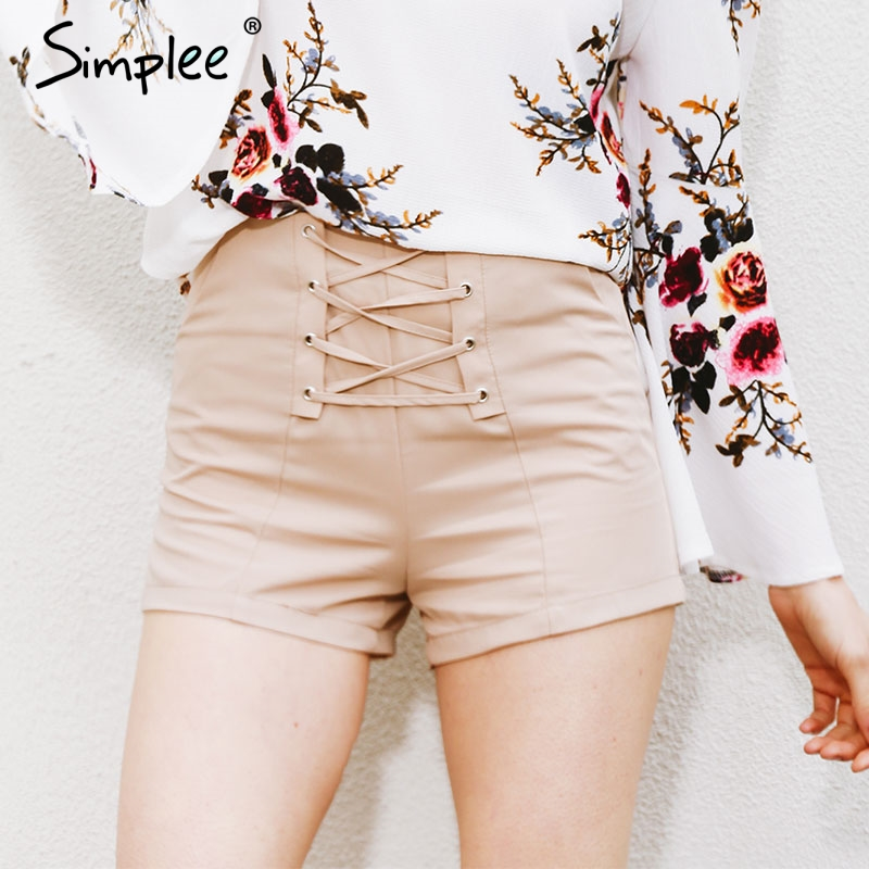 Simplee Cross lace up   shorts   women Sexy zipper high waist   shorts   Winter 2019 new style casual beach pocket   shorts