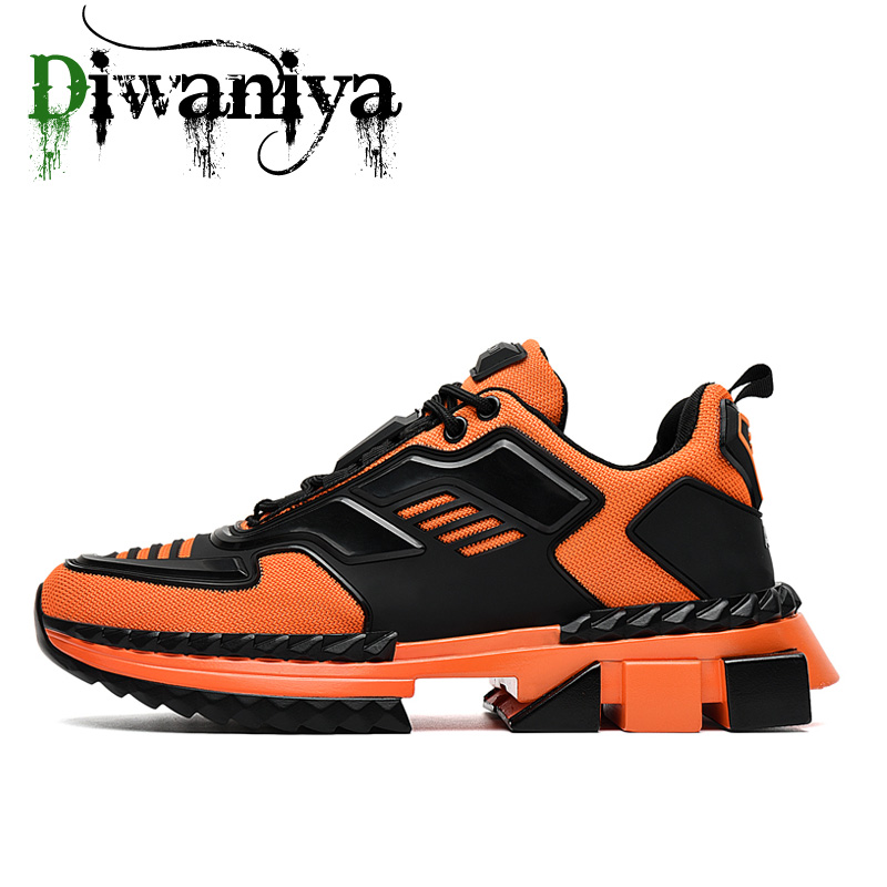 Diwaniya 2020 Hot Men Spring Autumn Mesh Leather Outdoor Walking Shoes Breathable Lace Up Fashion Dad Shoes Men Sneakers 39-44