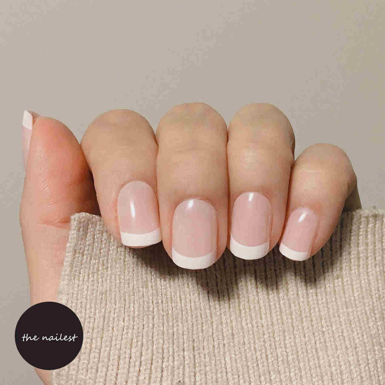 Ombre Coffin Nep Nagels สั้นฝรั่งเศสเล็บปลอม Ballerina Gradient กด Takma Tirnak Faux Ongles Autocollant