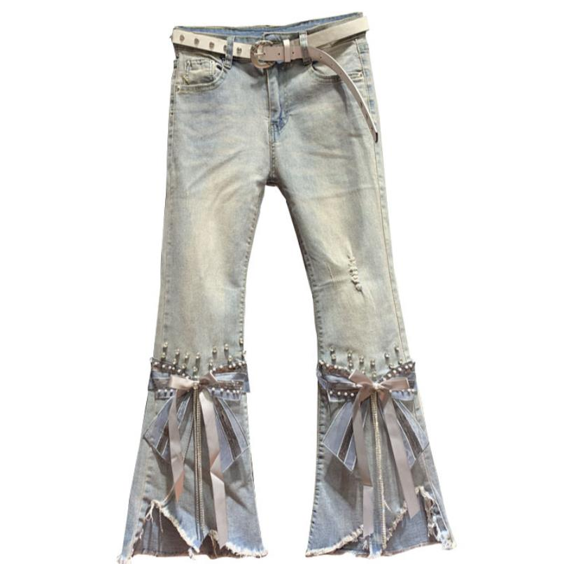 High Waist Frayed Cropped Jeans Women 2020 Spring New Irregular Beaded Heavy Craft Flared Pants