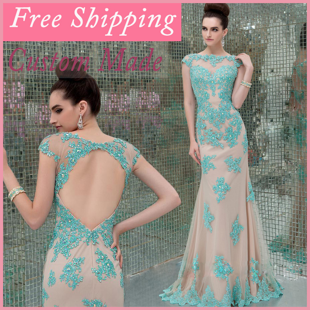 2018 Elegant Sheath Lace Sleeves Prom Party See Through Open Back Vestido De Festa Free Shipping Mother Of The Bride Dresses