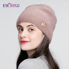 ENJOYFUR Chapéus de Inverno Para As Mulheres Imite Lã Gorro Grosso Para Cores de Alta Qualidade Strass Cap Novos Crânios Gorros Sólida Feminino