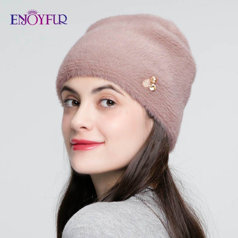 ENJOYFUR Winter Hats For Women Imitate Wool Thick Bonnet For Female Solid Colors High Quality Rhinestone Cap New Skulls Beanies