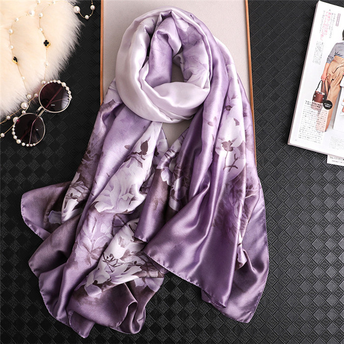 2019 luxury brand Women 100% Silk   scarf   Beach Shawl and Echarpe Hijab   Wrap   Designer   scarves   female beach stole bandana