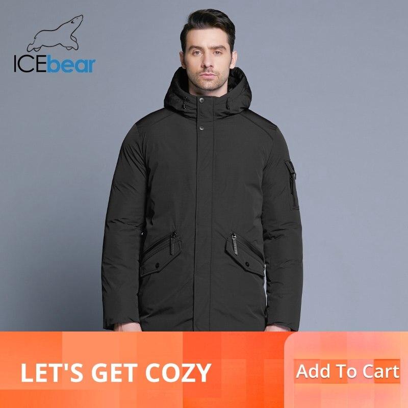 Icebear 2019 새로운 고품질 겨울 코트 간단한 패션 코트 큰 주머니 디자인 남자의 따뜻한 후드 브랜드 패션 파커 mwd18718d-에서파카부터 남성 의류 의  그룹 1