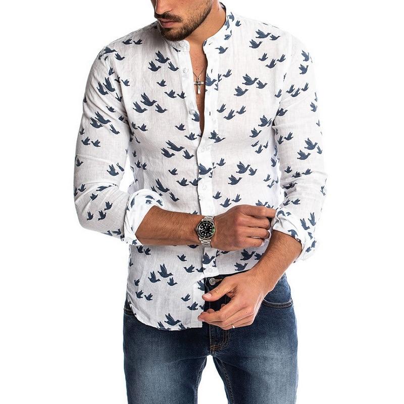 MJARTORIA Men's Breathable Shirt Men's Caual Print Floral Shirt Hawaiian Long Sleeve V-Neck Pocket Shirts Tops Blouse M-3XL