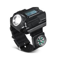 Usb зарядка часы Compbum открытый портативный супер яркий светодиодный XPE регулируемый ремешок Тактический Цифровой дисплей черный наручный светильник