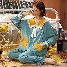 Nightwa algodão pijamas conjunto inverno manga longa nightwear turn-down colarinho bonito bolso sleepwear solto duas peças conjunto roupas femininas