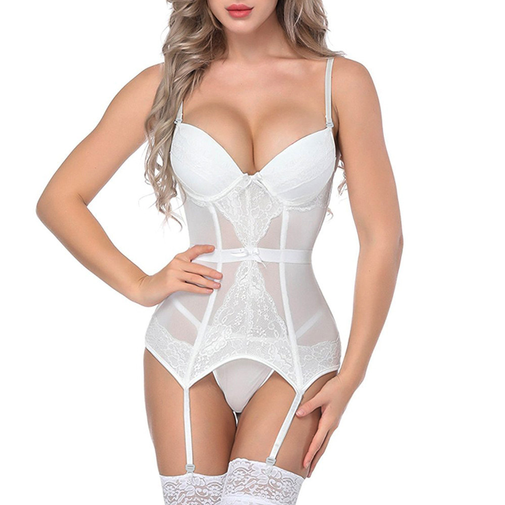 Porno Sexy Underwear Women Bustier Corset Sexy Lingerie Lace Babydoll Dress Transparent Garter G String Erotic Sex Costumes