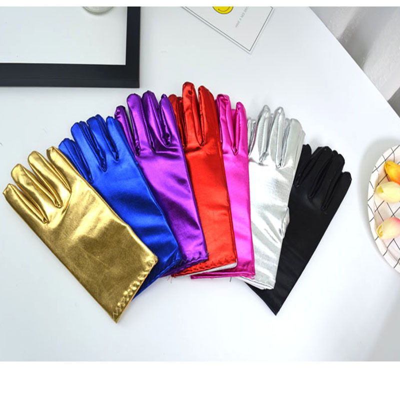 Short Men Women Purple Patent Leather Gloves Fashion Wrist Party Gloves Christmas Bright Stage Performance Gloves ST264