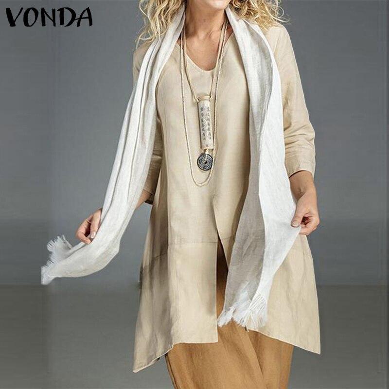VONDA 2020 Women Fashion Blouses Sexy V Neck Long Sleeve Solid Color Shirts Bohemian Split Hem Tops Plus Size Summer Blusas 5XL