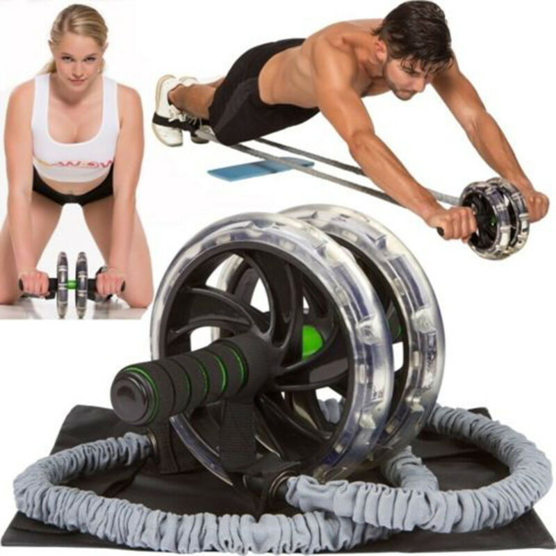 Ab Rollers Resistance Bands Abdominal Pull Rope Latex Fitness Exercise Stretch Pull Ropes Double Wheels Ab Roller Pull Rope