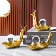 İskandinav altın salyangoz modeli yaratıcı reçine kristal top el sanatları masası heykelcik ofis masası dekor ev dekorasyon çocuk hediyeler