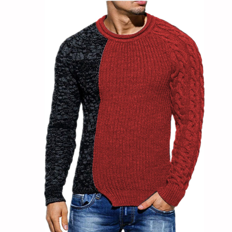 Sweater Pullovers Knitwear Slim-Fit O-Neck Homme Autumn Male Men's Casual Patchwork ZOGAA